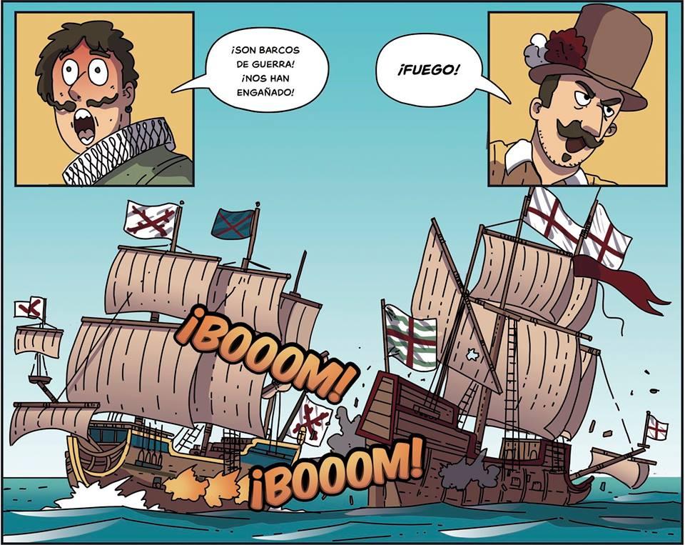 Un combate contra piratas ingleses en las Indias.